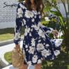Simplee Floral print women dress Casual long sleeve v neck holiday summer dress Streetwear boho a line beach wear midi dress