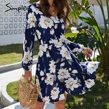Simplee floral impressão feminina vestido casual manga longa com decote em v vestido de férias verão streetwear boho a line praia wear midi vestido