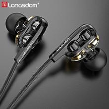 Langsdom D4C kablolu kulaklık mikrofonlu kulaklıklar çift sürücü telefonu kulaklık C tipi kulak telefonları