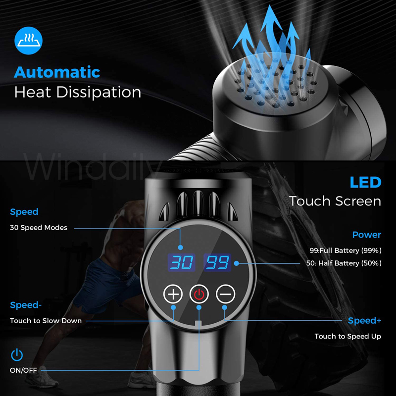 Massage Gun Deep Tissue Percussion Muscle Massager For Pain Relief 30 Speeds LCD Touch Display Fascia Gun Electric Body Massager 5
