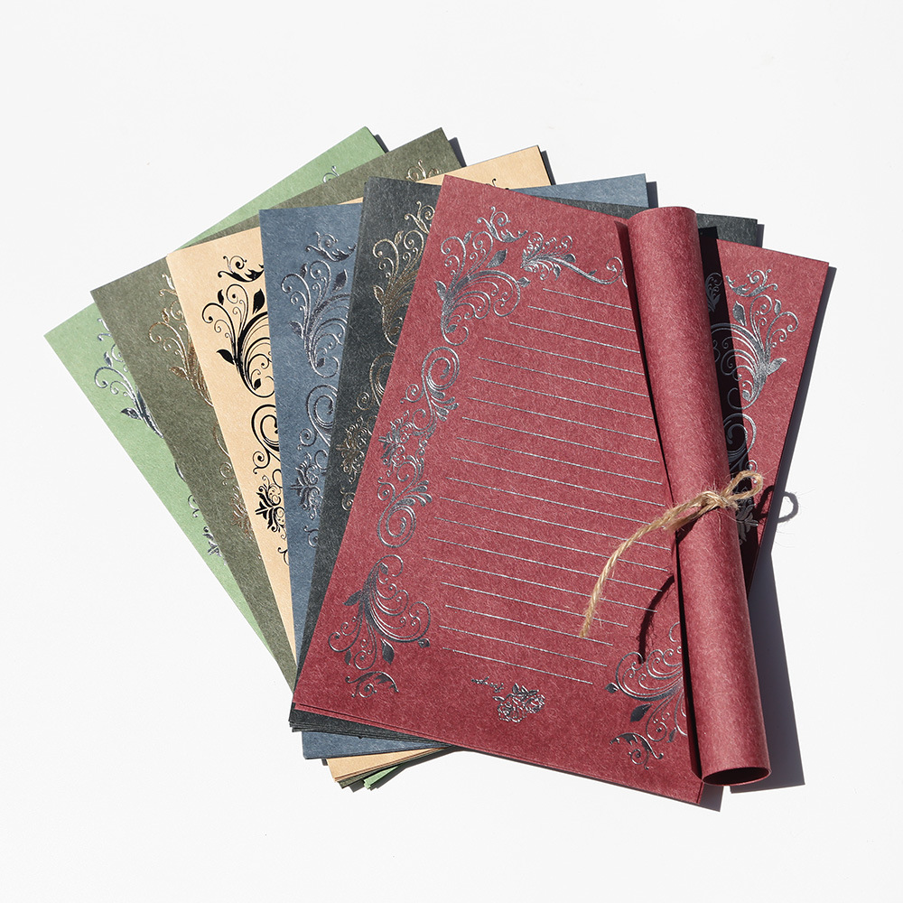 Coloffice 4PCs/Pack Retro Hot Stamping Envelope Paper Stationery Beautiful Romantic Pattern Creative Love Letter Stationery