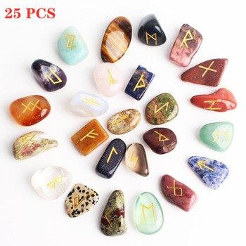 25Pcs Natural Divination Crystal Rune Stones Irregular Fortune-telling Polished Gemstone Gravel Healing Aquariums Decor