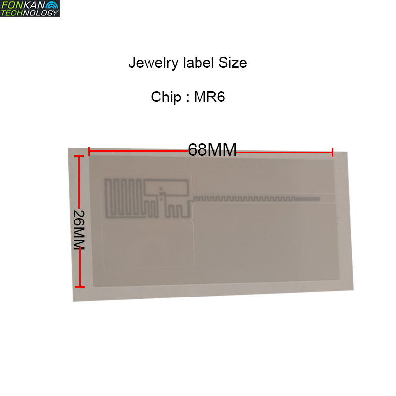 50pcs UHF RFID MR6 Chipset Jewelry Label 68x26MM EPC C1G2  White Paper Lable Sticker Tag For Jewelry Management