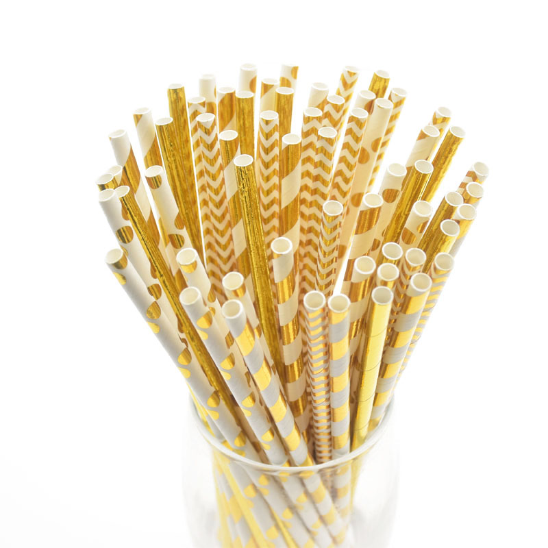 25/50pcs Gold Foil Paper Straws Wedding Decoration Mixed Stripe Dot Aluminum Straws Baby Shower Birthday Party Supplies Adult
