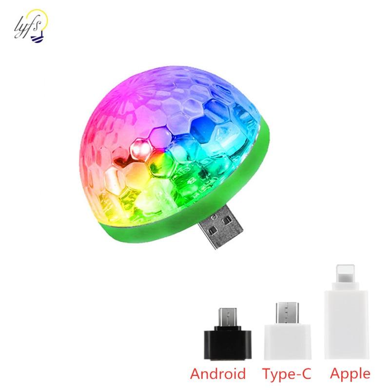 Led mini usb luz de palco portátil discoteca atmosfera lâmpada festa decoração colorido luzes bola mágica