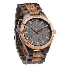 Dropshipping Minimalist Men Engraveable Customized Multicolor Zebra Ebony All Wooden Watches with Wood Band bobo bird all zebra wood men s quartz watch analog japan movement 2035 casual wooden band wood watches as gifts for men