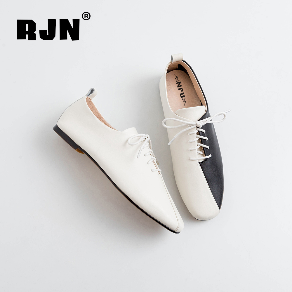 Buy RJN Comfortable Women Flats Mixed Color High Quality Genuine Leather Lace-Up Round Toe Square Heel Stylish Casual Shoes RO29
