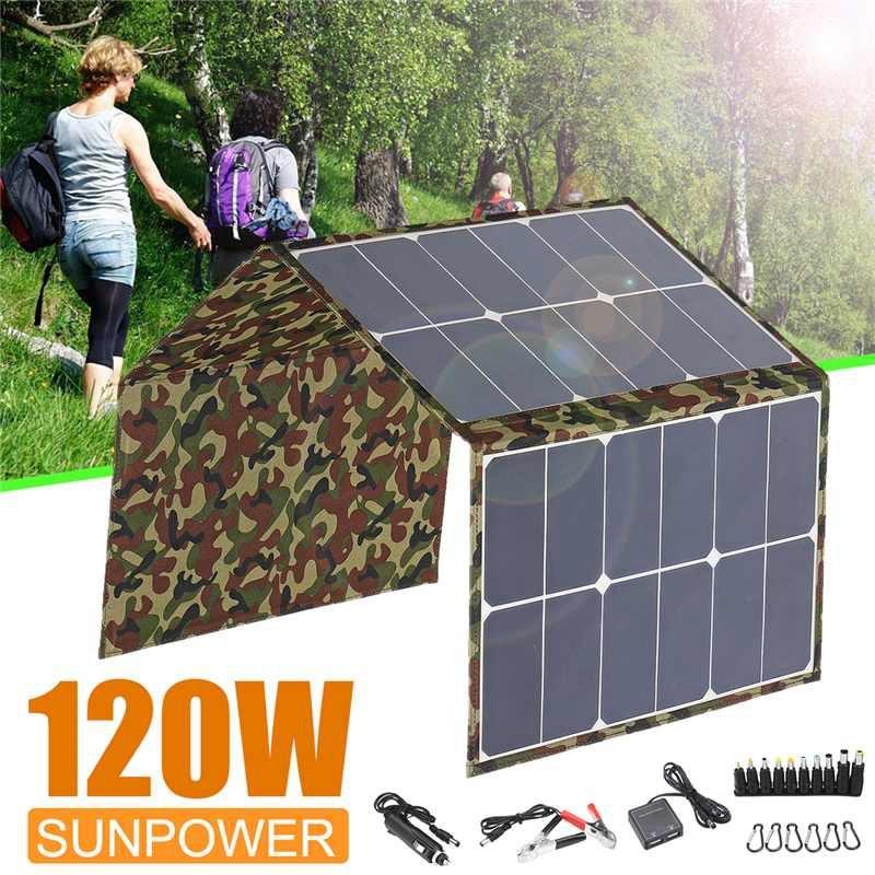 Al aire libre 120W 18V Panel Solar plegable Cargador Solar Camping cargador de batería Solar para ordenador de teléfono móvil - 4