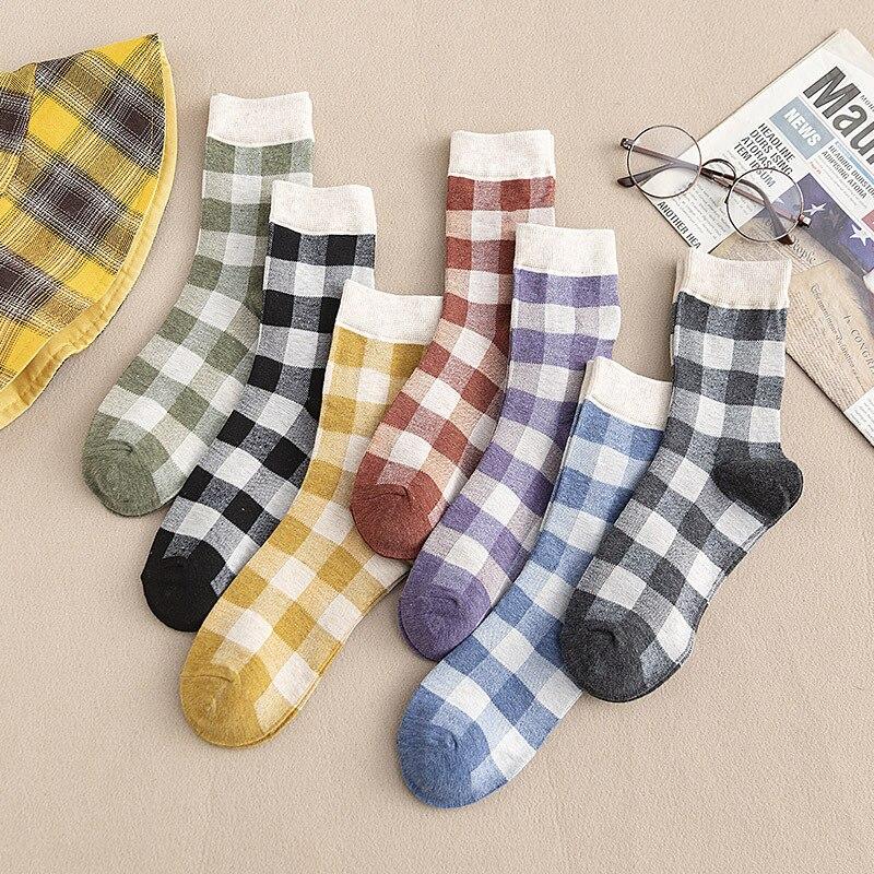 Estilo universitário japonês kawaii meias femininas algodão com grade cor combinando streetwear bonito meias outono para senhoras 419