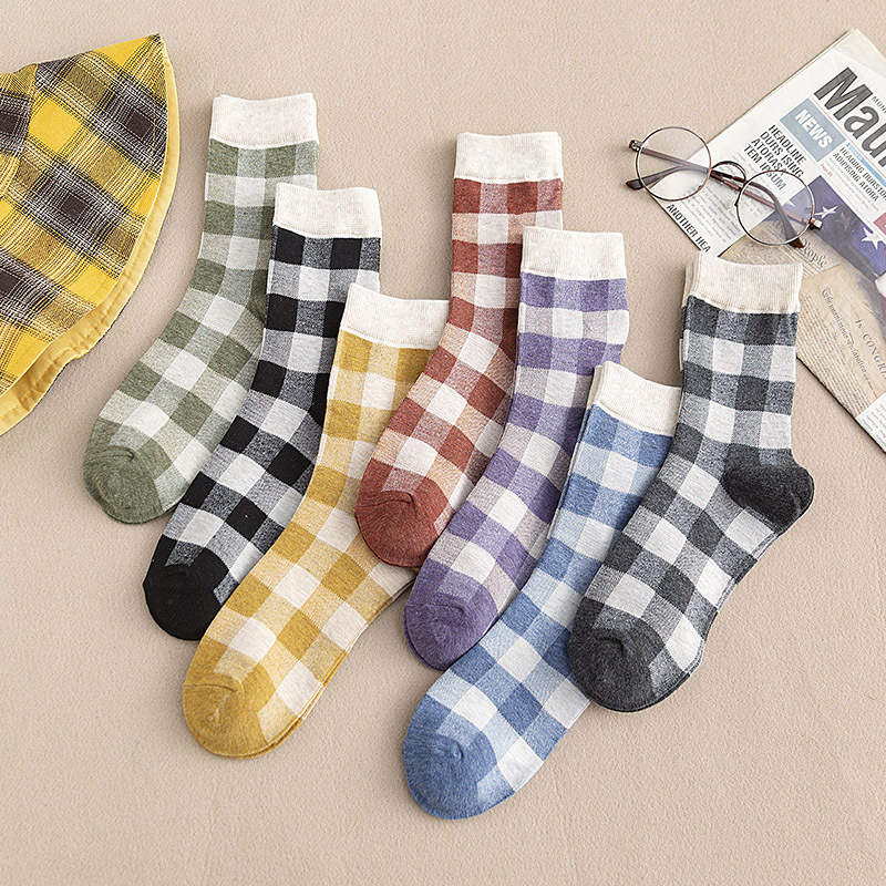 Japanese College Style Kawaii Women Socks Cotton With Grid Color Matching Streetwear Cute Socks Autumn For Ladies 419