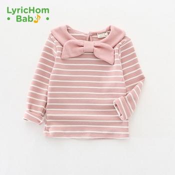 Lyricom bawełniana koszulka dla dzieci O-neck z długim rękawem łuki ubrania dla dziewczynek ubrania dla dzieci słodkie w paski koszulki koszulki dla dziewczynek topy tanie i dobre opinie COTTON CN (pochodzenie) Moda REGULAR Tees Pełna Pasuje prawda na wymiar weź swój normalny rozmiar Dziewczyny kids t shirt t shirt shirt unisex