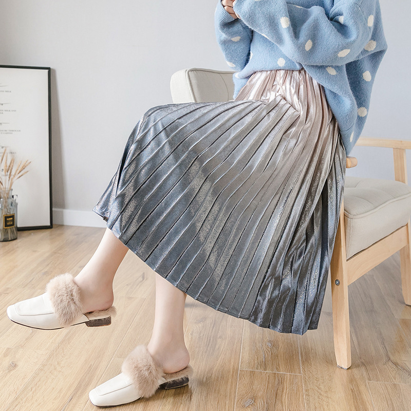 2019 Autumn And Winter New Style Korean-style Star Gradient Color Gold Velvet Metal Liangsi High-waisted A- Line Skirt Women's