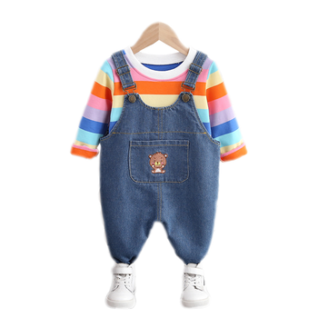 New Autumn Spring Kid Clothes Baby Boy Striped T Shirt Girls Jeans Pants 2pcs/set Baby Toddler Clothing Infant Casual Sportswear jxysy toddler kid baby girls clothing set ruffles floral top pleated pants spring autumn girls clothes children costumes