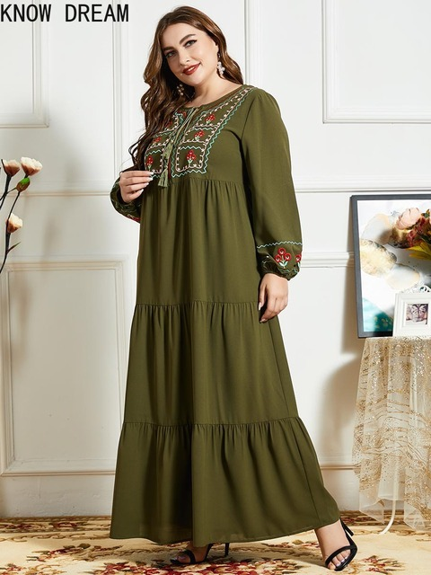 KNOW DREAM Women Fashion Comfortable Blue Embroidered Long Sleeve Multilayer Fold Army Green Dress Arab Robe 3