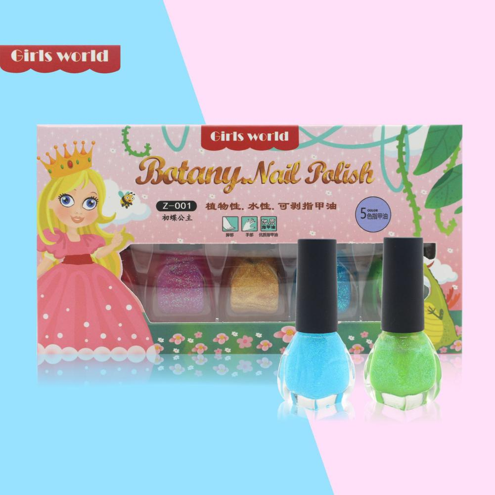 Children's Water-based Nail Polish Cosmetics Set Gift Makeup 7-14 Y Play House Toy