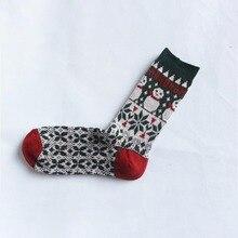 Womens Socks Autmn Winter Cotton Colorful Sweat-Absorbing Deodorant Cartoon Snowman Pattern Funny Girls Christmas Gift