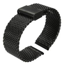 купить New New 20mm Watch Strap Shark Mesh Band Stainless Double Clasp Steel Bracelet Black по цене 430.52 рублей