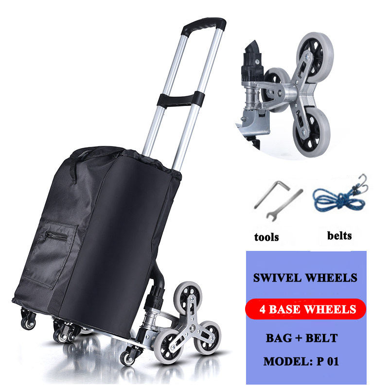 E-FOUR Folding Shopping Cart All Terrain Stair Climbing Cart With Removable Waterproof Canvas Bag For Laundry Grocery Shopping