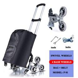 E-FOUR plegable carro de la compra de todo terreno escalera escalada carro extraíble con bolso de tela impermeable para ropa compras