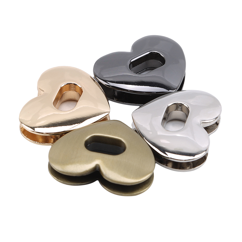 New Heart Shape Clasp Metal Hardware For DIY Handbag Bag Turn Lock Twist Lock Purse Clasps Locks Bag Accessories