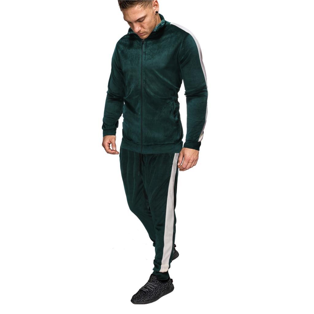 Shujin New Men's Sportswear Men's Set Spring Autumn Sports Suit Jacket Pant Sweatsuit Male Striped Tracksuit  2 Piece Sets