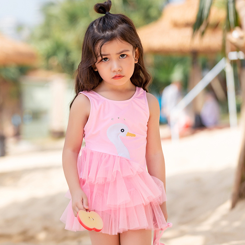 2019 Europe And America New Style Hot Sales One-piece Swimming Suit Swan Tulle Hipster Little Princess Cute Girls KID'S Swimwear