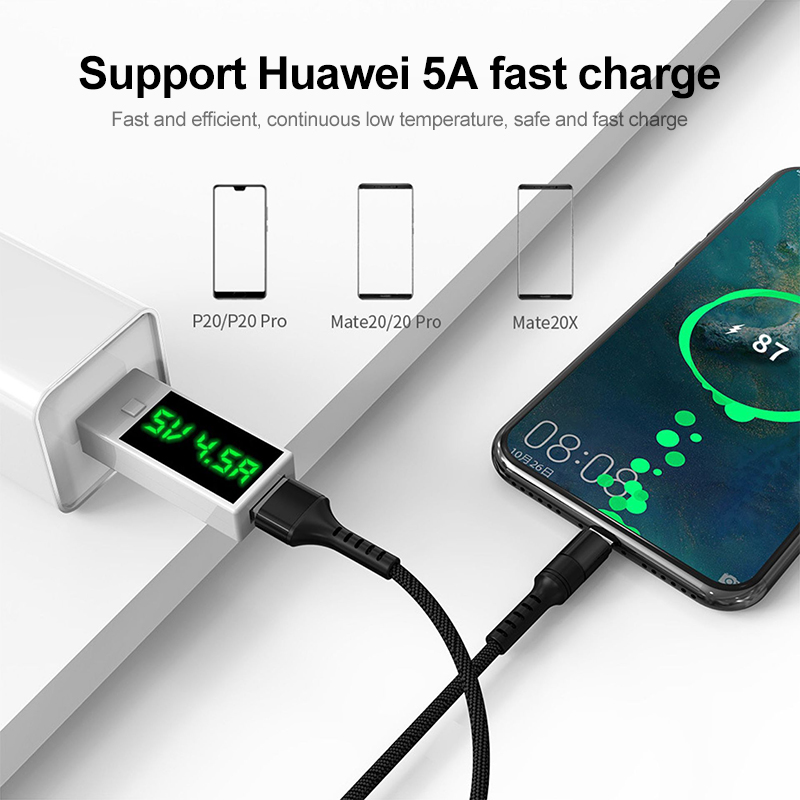 5A USB Type C Cable Super Fast Charge Data Line USB Cable for Huawei Xiaomi Fast Charge Wire Type-C Charging Cable Charger