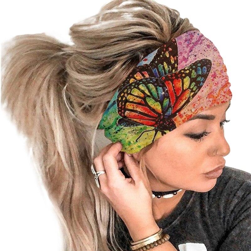 Новый Бабочка Печатных Фитнес широкий тюрбан ободок Девушки Женщины обруч для волос обруч аксессуары для волос резинка для волос головной ...