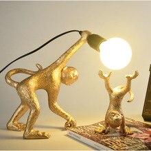 Modern Art Deco LED Monkey Table Lamp  White Gold Black Resin Lights Nordic Light Bedside Study Home Decorations