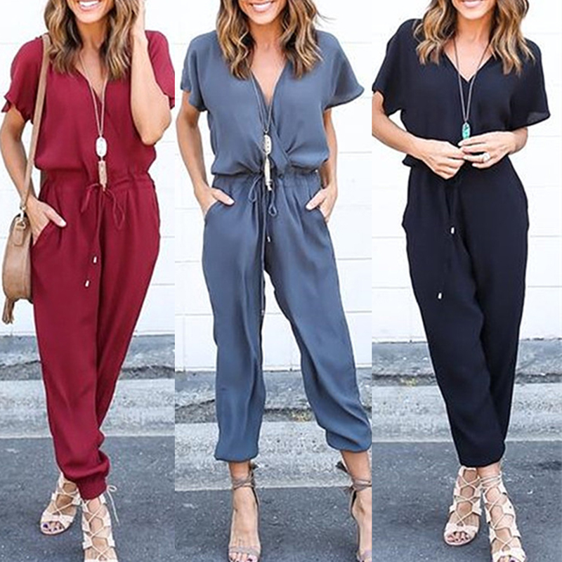 Spring summer jumpsuit women solid V-neck casual bodysuit rompers black lace up jump suit overalls 2020 cotton ladies clothes