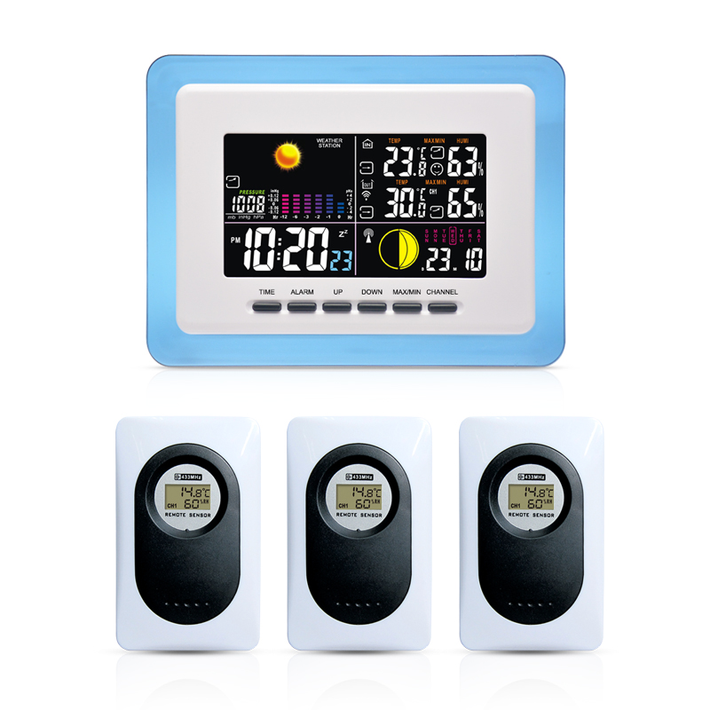 DYKIE Color LCD Screen Air pressure Wireless Weather Station Thermometer Hygrometer Backlight Desk Alarm Clock Most