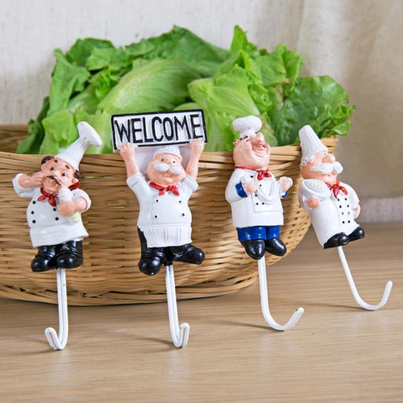 Cartoon Chef Shape Stainless Steel Hooks Creative Door Clothes Towel Hat Kitchenware Wall Hanger Key Wall Hanger Kitchen Tools