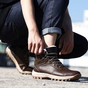 Image 5 - QGK zimowe ciepłe męskie buty z prawdziwej skóry futro Plus size mężczyźni śnieg buty Handmade wodoodporna pracy kostki buty wysokiej góry męskie buty