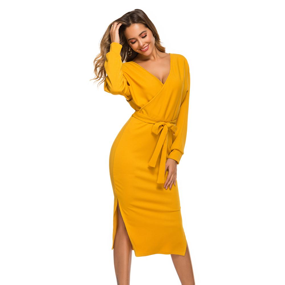 Sexy V-neck Long Sleeve Knitting Sweater Dress Women 2020 Autumn Winter Bodycon Knitted Office Casual Ladies Dresses Robe Femme