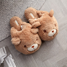 Suihyung Women Plush Slippers Pink Brown Cartoon Bear Indoor