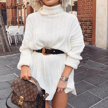 Nadafair 화이트 스웨터 드레스 2020 크리스마스 솔리드 긴 소매 미니 캐주얼 느슨한 터틀넥 니트 겨울 드레스 여성 Vestidos