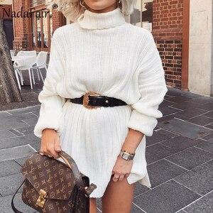 Image 1 - Nadafair 화이트 스웨터 드레스 2020 크리스마스 솔리드 긴 소매 미니 캐주얼 느슨한 터틀넥 니트 겨울 드레스 여성 Vestidos