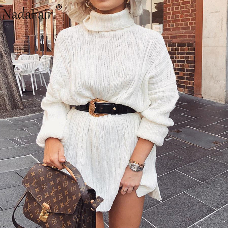 Nadafair Long Sleeve Turtleneck Sweater Dresses 2019 Solid Mini Casual Loose White Knitted White Autumn Winter Dress Women