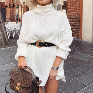 Image 1 - Nadafair White Sweater Dresses 2020 Christmas Solid Long Sleeve Mini Casual Loose Turtleneck Knitted Winter Dress Women Vestidos