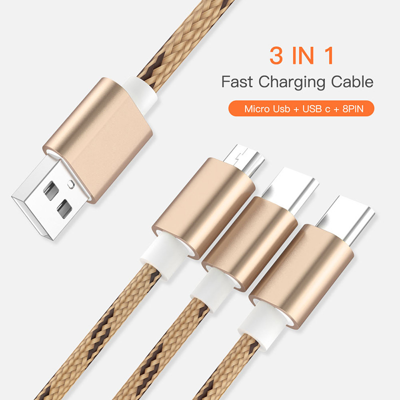 <font><b>Nylon</b></font> <font><b>Braided</b></font> 3 <font><b>IN</b></font> <font><b>1</b></font> USB <font><b>Cable</b></font> Type C Micro USB Charging <font><b>Cable</b></font> 8 Pin Tape C Type-C for iPhone Samsung Xiaomi Redmi Huawei Honor image