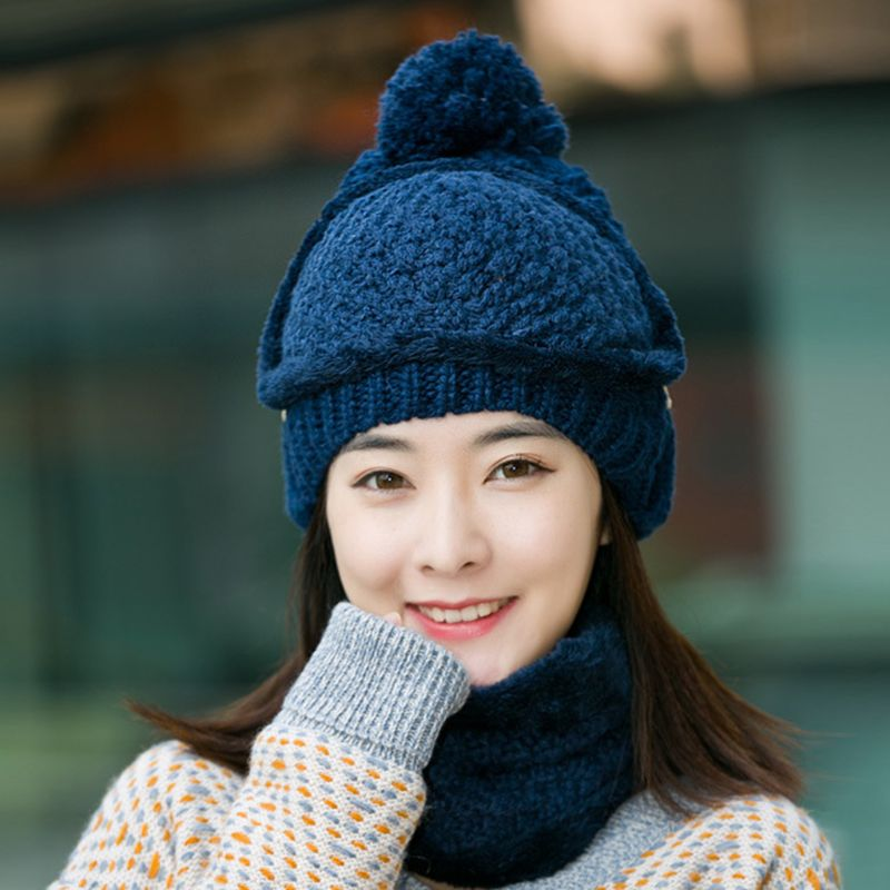 3 Pcs/set Winter Women Thick Warm Hat Cycling Cap Trendy Wool Knit Hat Scarf Mask Neck Cover Earmuffs Set