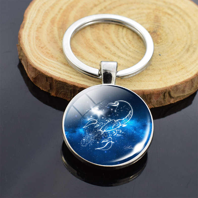 12 Constellations Zodiac Horoscope Star ด้านคู่พวงกุญแจแก้ว Cabochon จี้ Key CHAIN ผู้หญิงผู้ชายวันเกิดของขวัญ