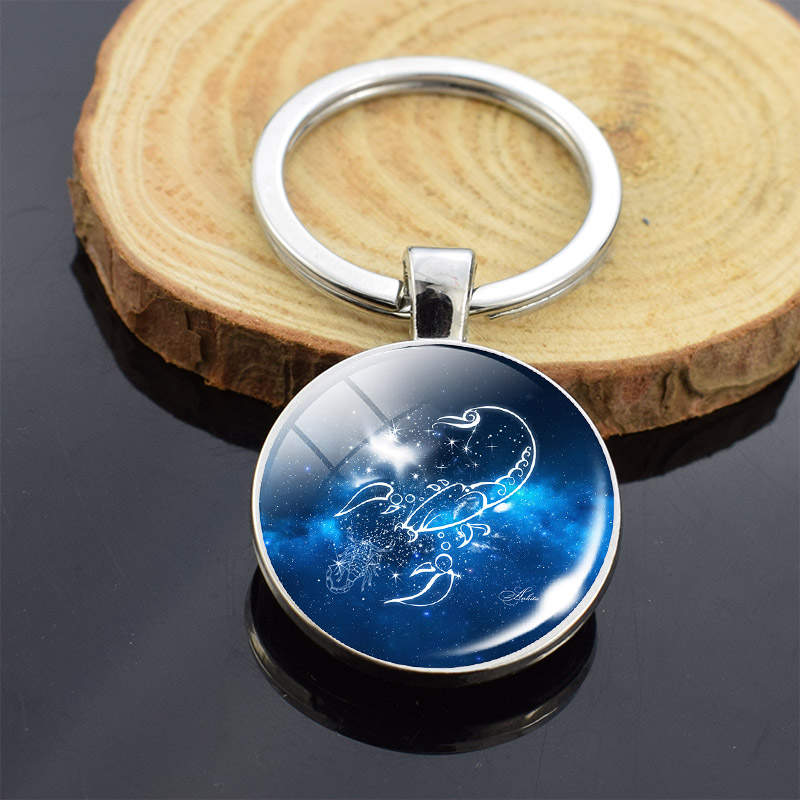12 Constellations Zodiac Horoscope Star Double Sides Keychain Glass Cabochon Fashion Pendant Key Chain Women Men Birthday Gifts