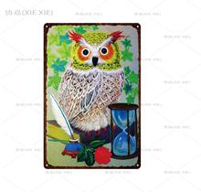 [XIEXIE] Owl flower and bird  Metal Sign Vintage Store Retro Iron Painting Poster Art home decoration custom decor 20*30 CM