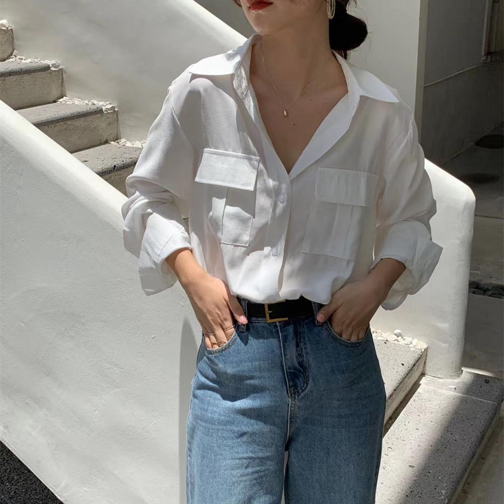 REALEFT Autumn 2020 New Solid White Women's Blouse Pockets Shirt Tops Long Sleeve Turn-down Collar Korean Style Loose Blouses 11