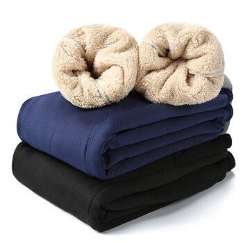 Men's Winter Pants Classic brand sweatpants super Warm Thick Pants cashmere Trousers For Men fleece Male long outdoors Pants men 5
