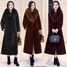 цены DUOUPA 2019  Autumn and Winter New Faux Fur Long Removable Fox Fur Collar Luxury Sheep Shearing Fur Coat Coat Large Size Female