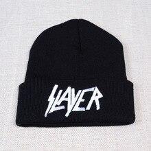 Новая Кепка SLAYER rock для мужчин и женщин, теплая зимняя, вязаная шапочка из хлопка с вышитыми буквами, стиль хип-хоп, лыжные шапочки Skullies, Кепка