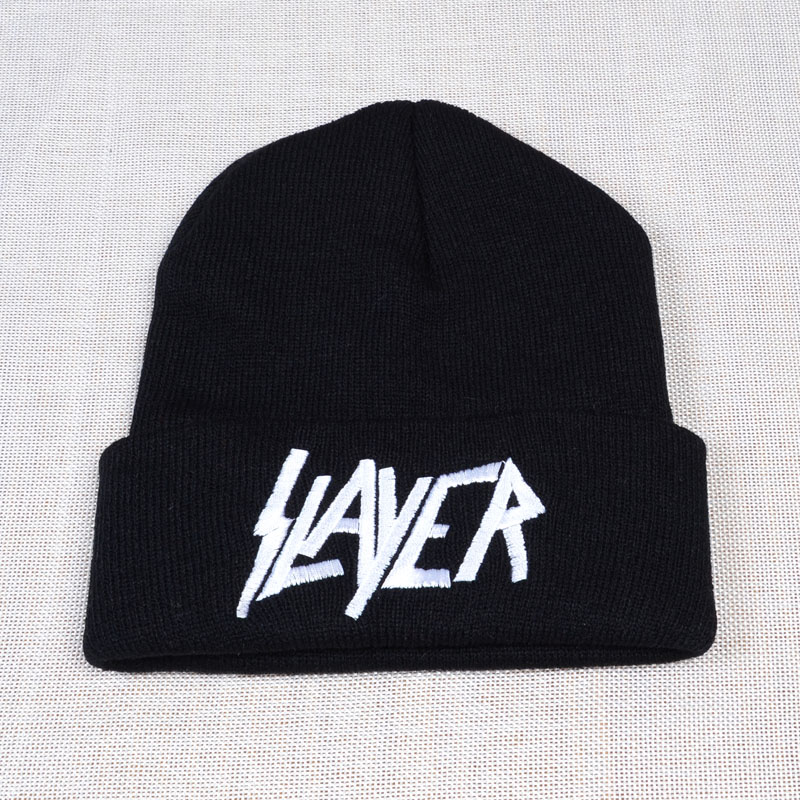 New SLAYER Rock Cap Men Women Warm Winter 100% Cotton Knitted Hat Embroidery Letter Style Hip Hop Skullies Beanies Ski Cap