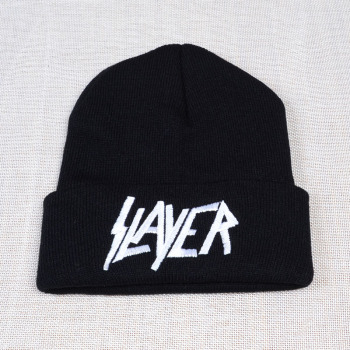 New SLAYER rock cap Men Women Warm winter 100% Cotton Knitted Hat embroidery letter Style Hip Hop Skullies Beanies Ski Cap 2017 new fashion harajuku black couple wave embroidery beanies warm hat men women winter hip hop cap hats